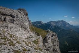 Falaises du Plateau de Beurre. Pas d'Echelette. Montagne de Glandasse 2 041m
